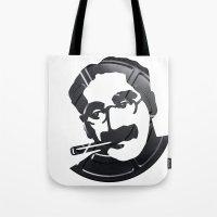 marx Tote Bags featuring Groucho Marx by Alejandro de Antonio Fernández