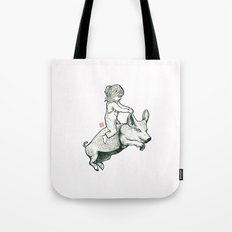 Girl on a flying pig Tote Bag