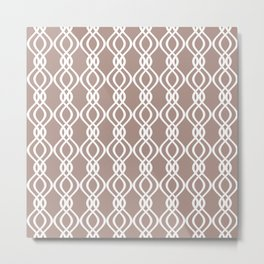 Beige and white curved lines Metal Print