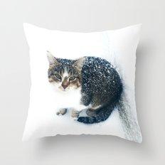snowy cat Throw Pillow