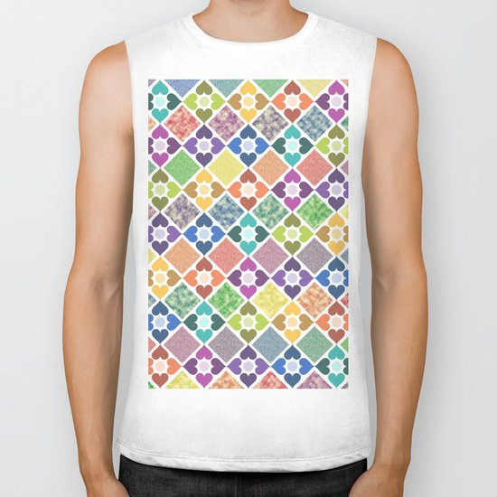 Colorful Floral Pattern III Biker Tank