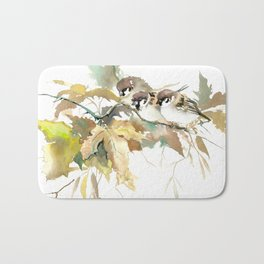 Sparrows and Fall Tree, three birds, brown green fall colors Bath Mat