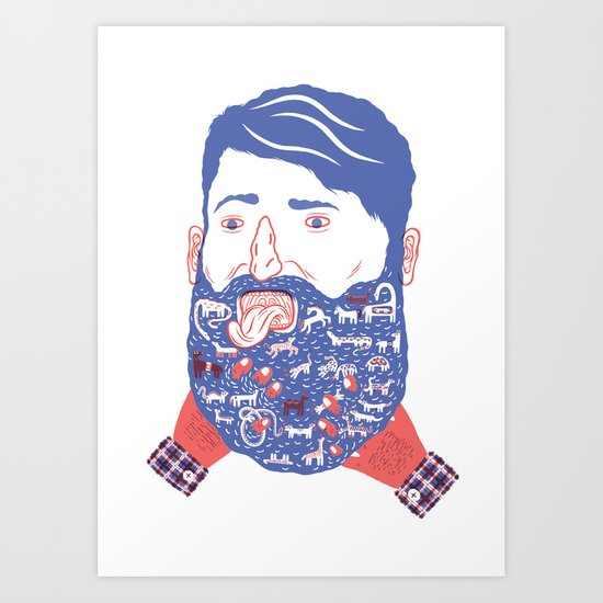 Animals in Beard Art Print