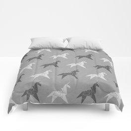 Origami Unicorn Grey Comforters
