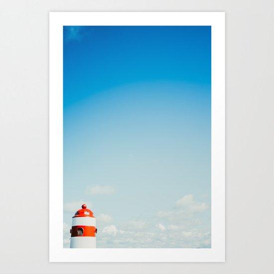 Red White Lighthouse Art Print