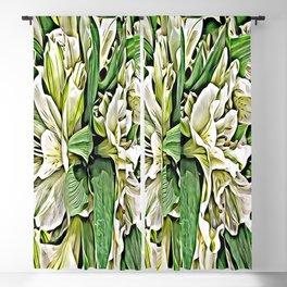 Painted White Lilies Blackout Curtain