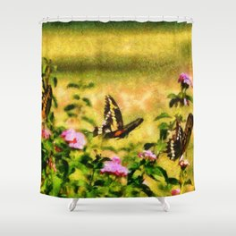 Three Giant Swallowtails - Monet Style Shower Curtain
