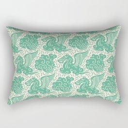 Pegasus Pattern Beige and Green Rectangular Pillow