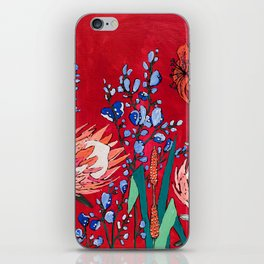 Red and Blue Floral with Peach Proteas iPhone Skin