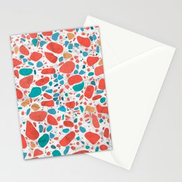 Terrazzo - Mosaic - living coral palette on marble Stationery Cards