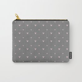 Small sketchy pink hearts pattern on grey background Carry-All Pouch