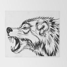 Fierce Wolf Throw Blanket