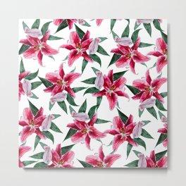 pink lily pattern 2 Metal Print
