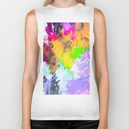 painting texture abstract background in purple yellow green pink Biker Tank