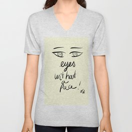 Minima Art Eyes Without a Face Unisex V-Neck