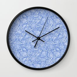 Coleus leaves pattern in blue and white Wall Clock
