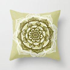 Mandala on Sage Linen Throw Pillow