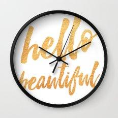 Hello Beautiful - Gold Typography Wall Clock