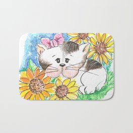 Marisol y los girasoles, the cat and the Sunflowers Bath Mat