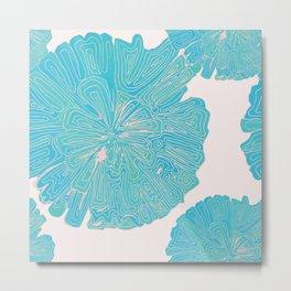 Rose Gold and Blue - Doodle Flower Metal Print