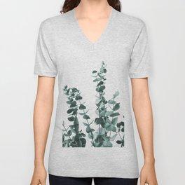 Turquoise Eucalyptus Leaves Unisex V-Neck