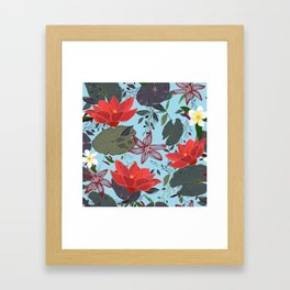 Lotus Flowers and Frangipani Floral Pattern Framed Art Print