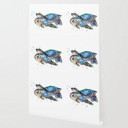 Sea Turtle, Green Blue, sea turtle under water, sky blue Wallpaper
