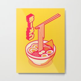 Japanese Ramen Isometric - Yellow Solid Metal Print