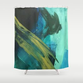 Align: a bold, abstract minimal piece in blues and greens Shower Curtain