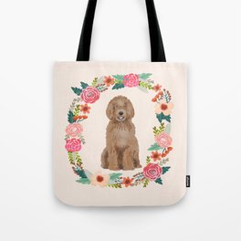 labradoodle floral wreath dog breed pet portrait pure breed dog lovers Tote Bag