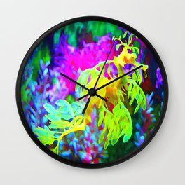 Seahorse Abstract Coral Reef impressionist Wall Clock