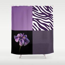 Purple Iris Flower and Zebra Stripes Patch Work Shower Curtain