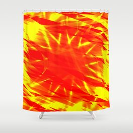 Glowing exploded background of red and yellow flowing lines and stars. Shower Curtain