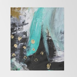Fairy Dreams: an abstract mixed media piece in black, white, teal, and gold Throw Blanket