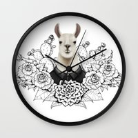lama Wall Clocks featuring Lama by Melanie Blanchard