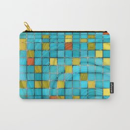 Block Aqua Blue and Yellow Art - Block Party 2 - Sharon Cummings Carry-All Pouch