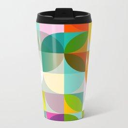 mid century geometry vibrant colors Metal Travel Mug