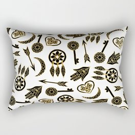 Black and Gold Popular Symbols on White Rectangular Pillow