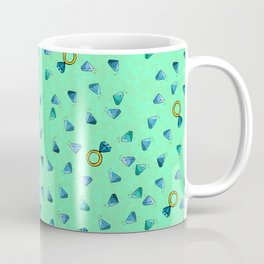 Diamond Pattern Cartoon Pins Ring Patch Style Teal Blue Cell Duck Egg Blue Design Coffee Mug