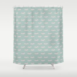 Small Mint Sleeping Eyes Of Wisdom - Pattern - Mix & Match With Simplicity Of Life Shower Curtain