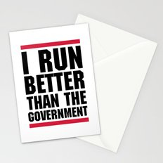 Run Better Than Government Funny Gym Quote Stationery Cards