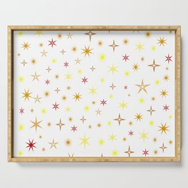 Star shapes of warm colors Serving Tray