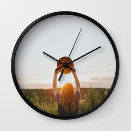 Girl With A Hat At Sunset Wall Clock