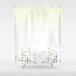 white daisy watercolor horizontal Shower Curtain