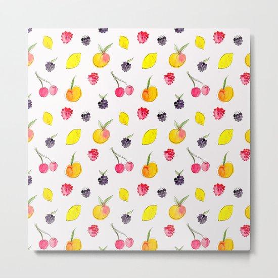 Fruit Salad - Watercolor & Ink Pattern Metal Print