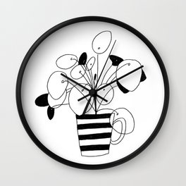 Pilea in a cup Wall Clock