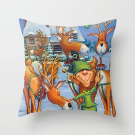 Elf Karl and the Reindeer Throw Pillow
