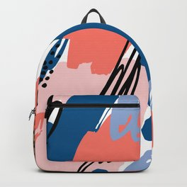 Pastel pink navy blue white abstract brushstrokes pattern Backpack