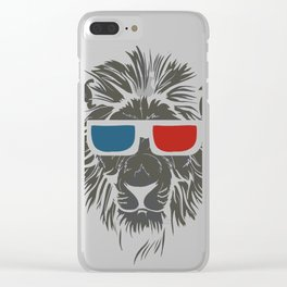 Lion with 3D sunglasses Clear iPhone Case
