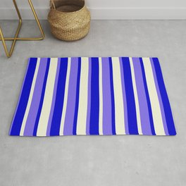Medium Slate Blue, Blue, and Beige Colored Striped/Lined Pattern Rug